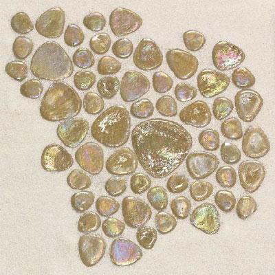 Daltile Glass Pebbles Mosaic Wheat Iridescent Tile & Stone