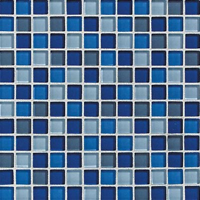 Daltile Glass Reflections Blends Mosaic 1 x 1 (Gloss) Caribbean Surf Tile & Stone