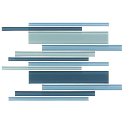 Daltile Glass Reflections Interlocking Blends 12 x 16 (Frosted) Winter Blues Tile & Stone