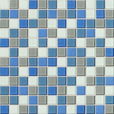 Daltile Isis Glass Mosaic 1 x 1 Blends Polo Blue Blend Tile & Stone