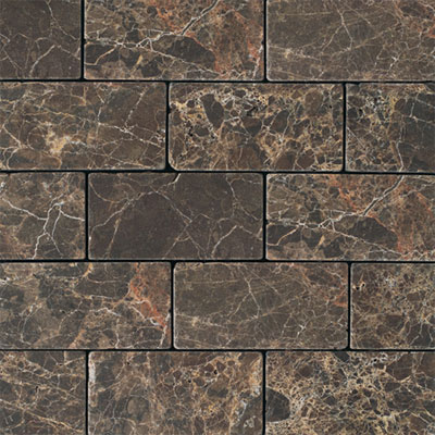 Daltile Marble 3 x 6 (All the other Marbles) Emperador Dark Tumbled Tile & Stone