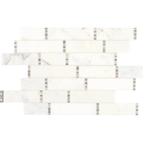 Daltile Marble Random Linear Mosaic First Snow Tile & Stone