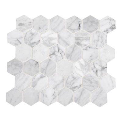 Daltile Marble Mosaics - Unique Shapes Carrara White Hexagon Mosaic Tile & Stone