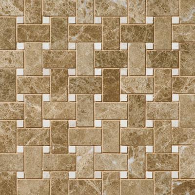 Daltile Marble Mosaics - Unique Shapes Emperador Light Classic Basketweave Mosaic Tile & Stone