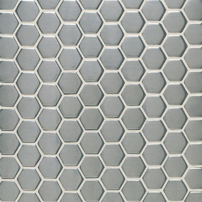 Daltile Metallica - Metal Tile Hexagon Mosaic Brushed Stainless Steel Tile & Stone