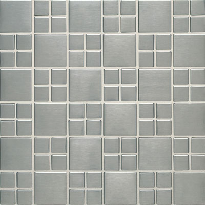 Daltile Metallica - Metal Tile Square Combination Mosaic Brushed Stainless Steel Tile & Stone