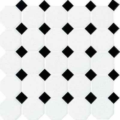Daltile Octagon & Dot Matte White/Black Gloss Dot Tile & Stone