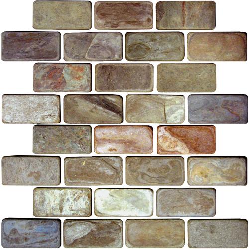Daltile Slate Collection - Unique Shapes Autumn Mist Brick 1 x 3 Tile & Stone