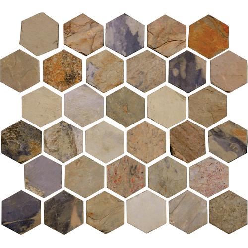 Daltile Slate Collection - Unique Shapes Autumn Mist Hexagon 2 x 2 Tile & Stone