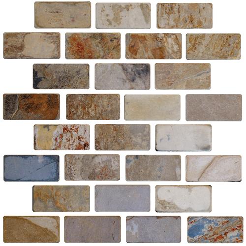 Daltile Slate Collection - Unique Shapes California Gold Brick 1 x 3 Tile & Stone