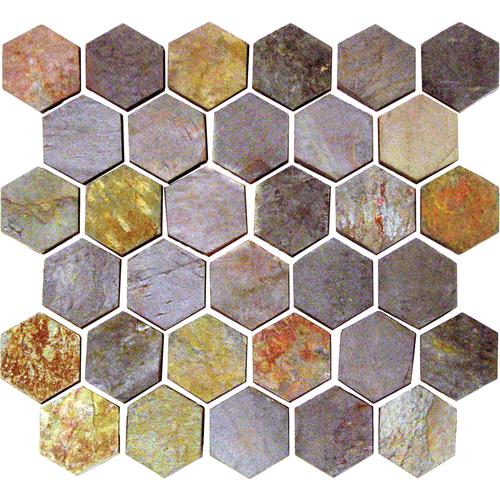 Daltile Slate Collection - Unique Shapes Indian Multicolor Hexagon 2 x 2 Tile & Stone
