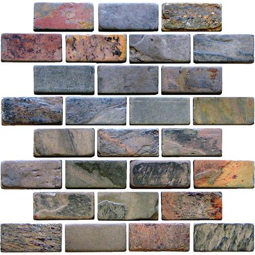 Daltile Slate Collection - Unique Shapes Indian Mutlicolor Brick 1 x 3 Tile & Stone