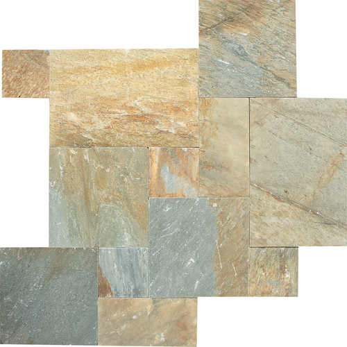 Daltile Slate Collection - Versailles Pattern Mosaic Golden Sun Tile & Stone