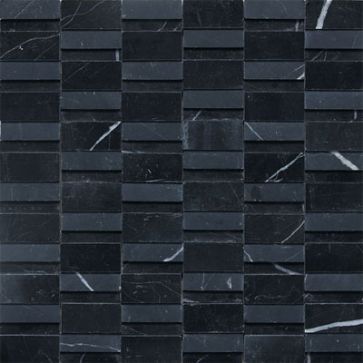 Daltile Stone a la Mod Mosaics High/Low Polished and Honed - Nouveau Nero Tile & Stone