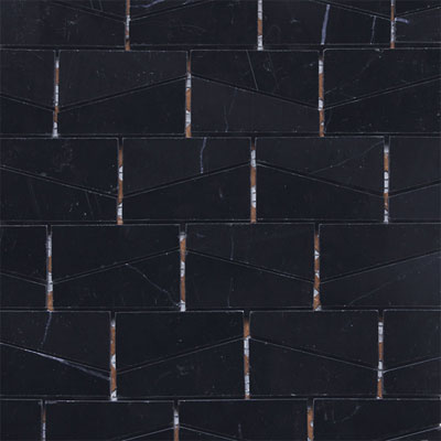 Daltile Stone a la Mod Mosaics Wedge Polished - Nouveau Nero Tile & Stone
