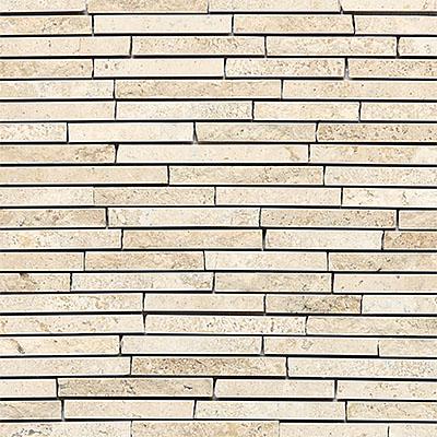 Daltile Travertine Natural Stone Mosaic Random Length Baja Cream Tile & Stone