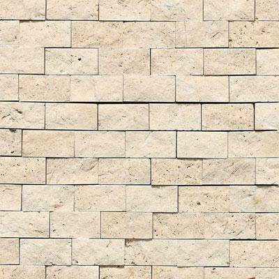 Daltile Travertine Natural Stone Mosaic Split Face Mediterranean Ivory Tile & Stone