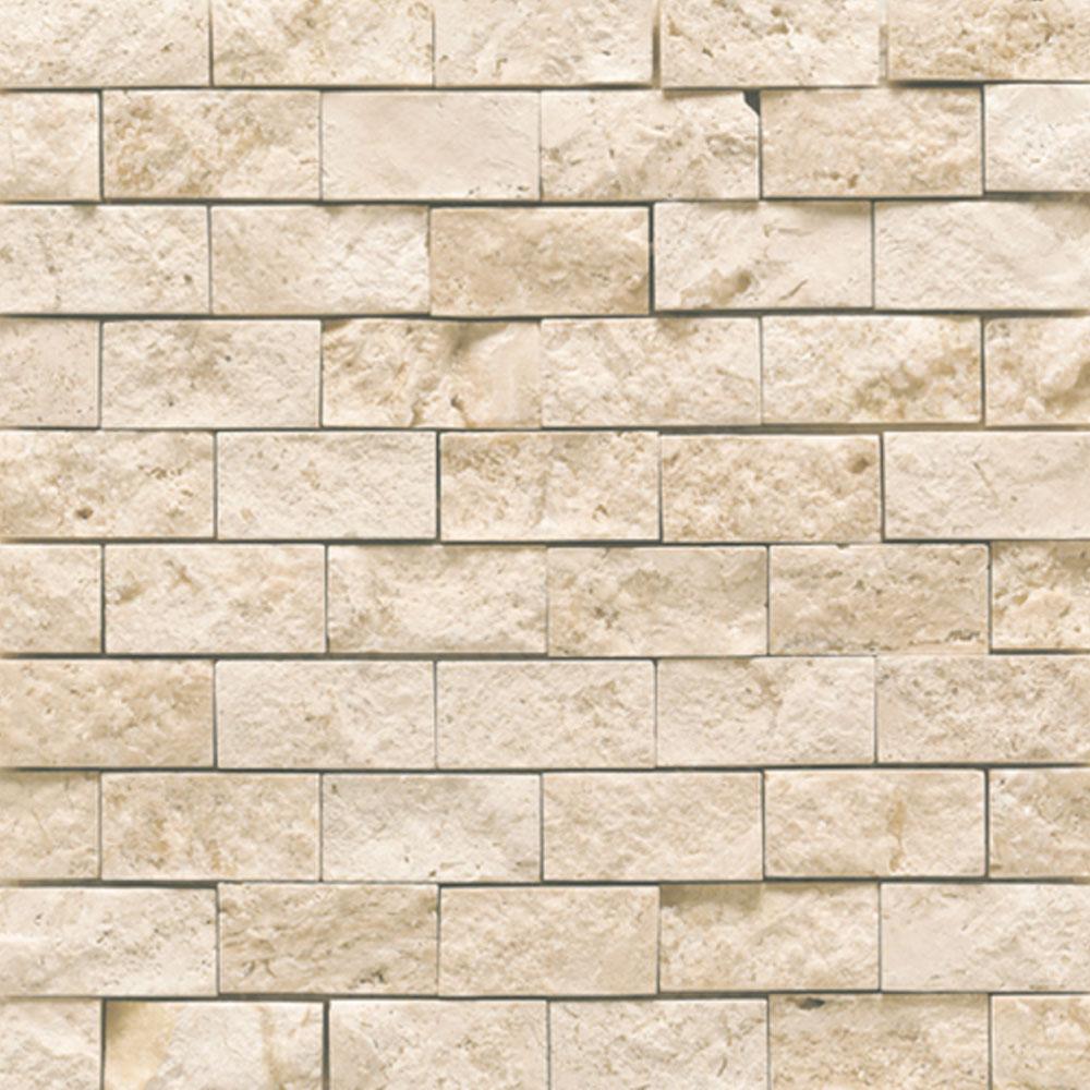 Daltile Travertine Natural Stone Mosaic Split Face Baja Cream Tile & Stone