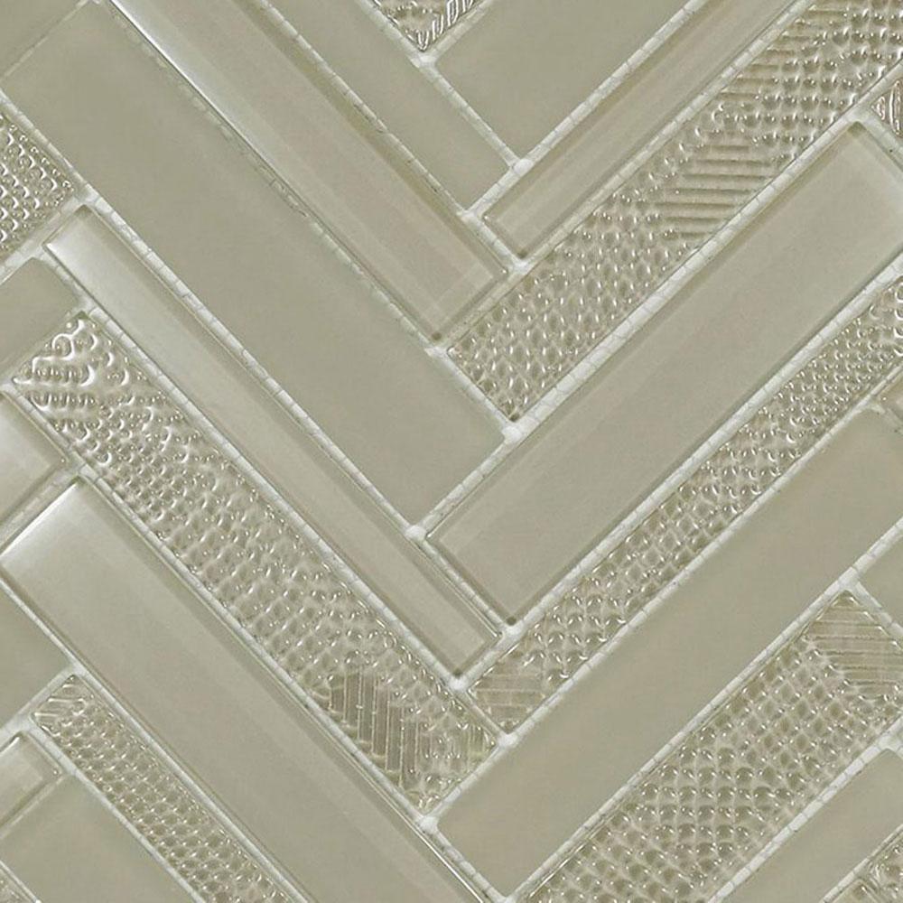 Diamond Tech Glass Captiva Herringbone Mosaic Oyster Shell (Sample) Tile & Stone