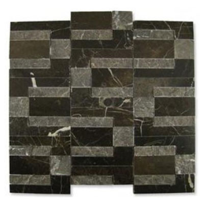 Diamond Tech Glass Contours Doric Modular Polished and Chiseled Dark Emperador (Sample) Tile & Stone