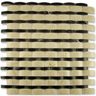 Diamond Tech Glass Contours Rome Interlocking Wave Polished Crema Marfil / Dark Emperador (Sample) Tile & Stone