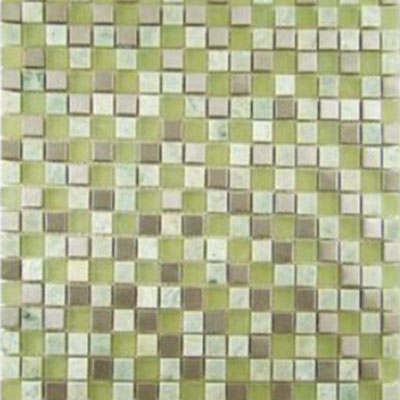 Diamond Tech Glass Impact 5/8 Glass & Stone & Metal Mosaic Green Tea (Sample) Tile & Stone