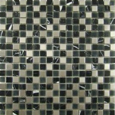 Diamond Tech Glass Impact 5/8 Glass & Stone & Metal Mosaic Midnight (Sample) Tile & Stone