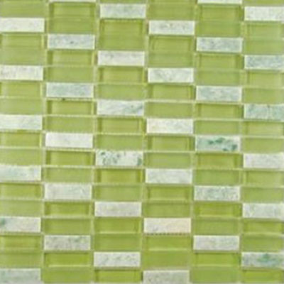 Diamond Tech Glass Impact 5/8 Stacked Glass & Stone Mosaic Green Tea (Sample) Tile & Stone