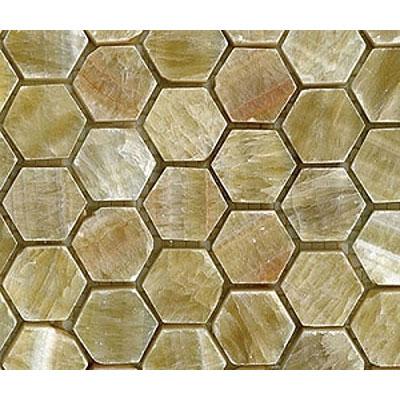 Diamond Tech Glass Marble Series Hexagon Polished Mosaic Honey Onyx Tile & Stone