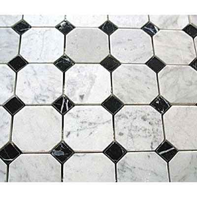 Diamond Tech Glass Stone Series Octagon/Dot Mosaic White Statuary/Black Dot (Sample) Tile & Stone