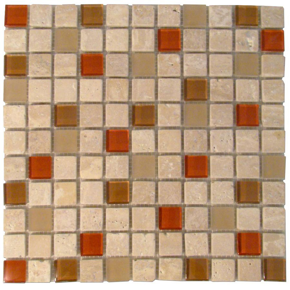 Diamond Tech Glass Travertine & Glass Mixes Auburn (Sample) Tile & Stone