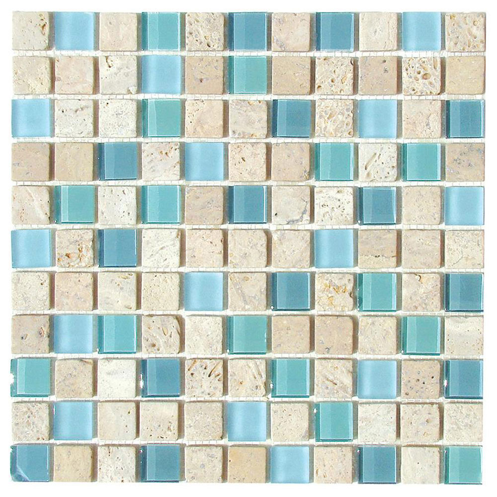 Diamond Tech Glass Travertine & Glass Mixes Cool Blues (Sample) Tile & Stone