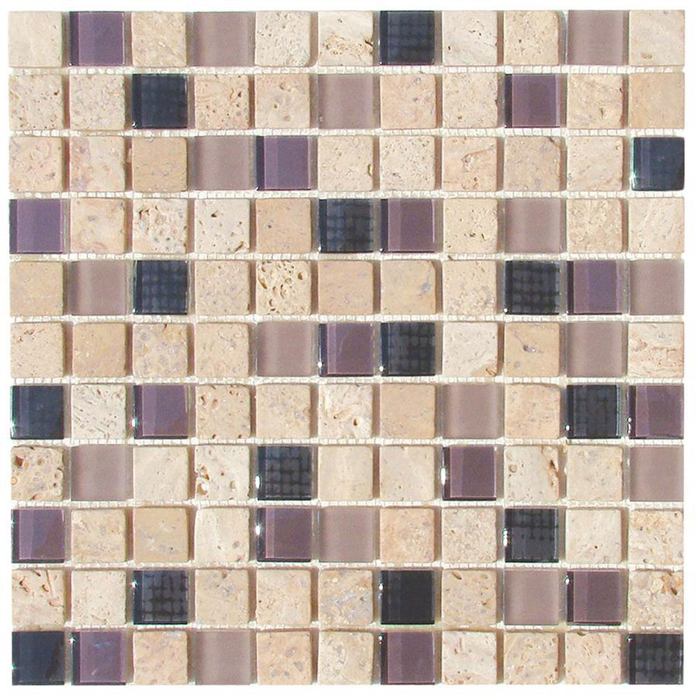 Diamond Tech Glass Travertine & Glass Mixes Exotic Plum (Sample) Tile & Stone