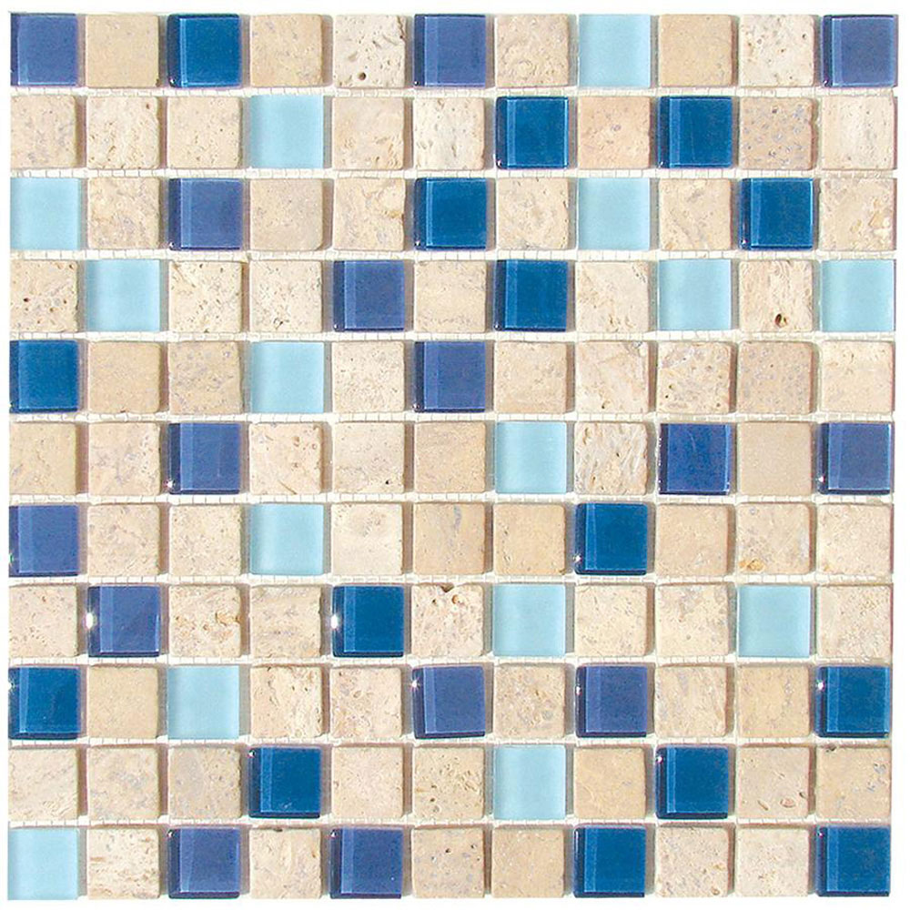 Diamond Tech Glass Travertine & Glass Mixes Lagoon (Sample) Tile & Stone