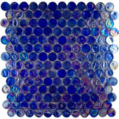 Diamond Tech Glass Vista 7/8 Round Iridescent Mosaic Liberty Blue (Sample) Tile & Stone