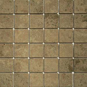 Stone Collection Mexican Travertine Tumbled Mosaic 2 x 2 Noce/Noche Tile & Stone