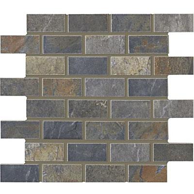 Interceramic Rustic Lodge Bricklay Mosaic 12 x 12 Ebony Dusk Tile & Stone