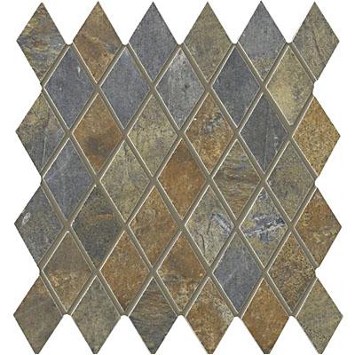 Interceramic Rustic Lodge Harlequin Mosaic 12 x 11 Ebony Dusk Tile & Stone
