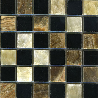 Maestro Mosaics Stone Mosaic 1 x 1 Blend Honey Palace Black Pattern Tile & Stone