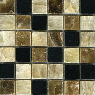Maestro Mosaics Stone Mosaic 1 x 1 Blend Honey Palace Black Onyx Random Tile & Stone
