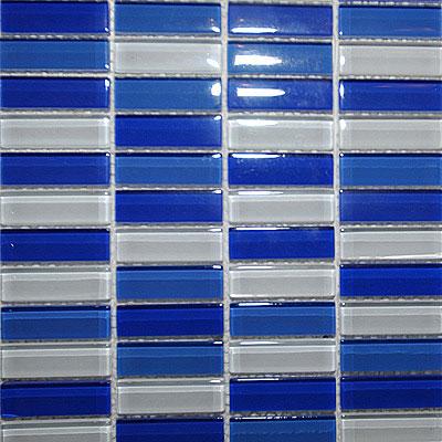 Maestro Mosaics Crystal Glass Blends Mosaic White-Med Blue-Cobalt Tile & Stone