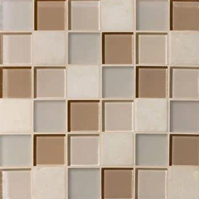 Mannington Accent Gallery Glass & Stone Blends 2 x 2 Mosaic Beige Blend (Sample) Tile & Stone