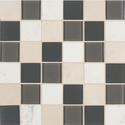 Mannington Accent Gallery Glass & Stone Blends 2 x 2 Mosaic Graphite Blend (Sample) Tile & Stone