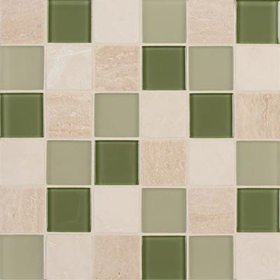 Mannington Accent Gallery Glass & Stone Blends 2 x 2 Mosaic Seagrass Blend (Sample) Tile & Stone