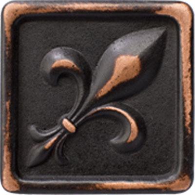 Marazzi Romance Collection Fleur de lis Insert 1 x 1 Venetian Bronze Tile & Stone