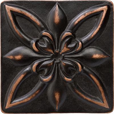 Marazzi Romance Collection Floral Corner 4 x 4 Venetian Bronze Tile & Stone