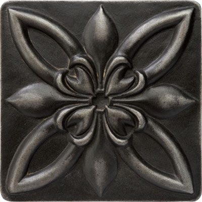 Marazzi Romance Collection Floral Insert 1 x 1 Wrought Iron Tile & Stone