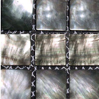 SeaTile SeaTile Mosaics 1 x 1 Black Mother Of Pearl Mosaic Tile & Stone