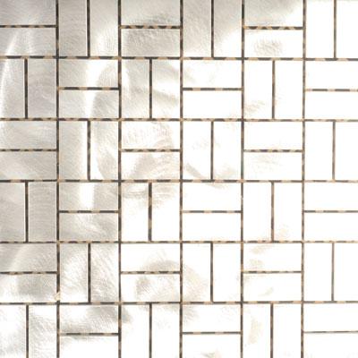 Metal Border Pure Metal Basketweave Mosaic Graffiato/Brushed Tile & Stone
