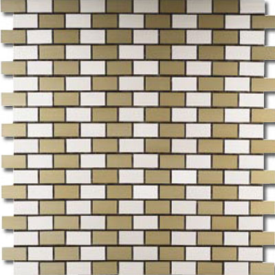 Metal Border Pure Metal Brick Staggered Mosaic 1 x 2 Crema Tile & Stone
